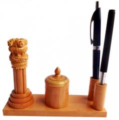 Wooden Ashoka piller+2 pen Base+ pin holder