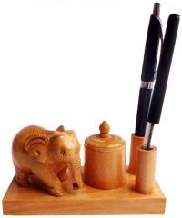 Wooden Elephant+2 pen base+pin holder