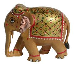 Wooden Elephant Colourful