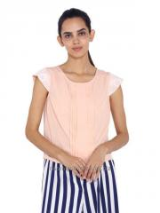 Lace Sleeves Pleated Top