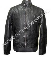 Round Neck Men Leather Jacket