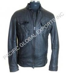 Zipper Closure Men Leather Jacket