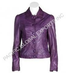 Buttoned Womens Leather Jacket