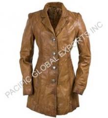 Lamb Leather Long Coat