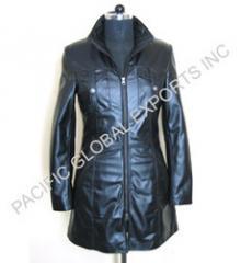 Soft Leather Slim Fit Long Coat