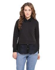 Black Solid Fleece Sweatshirt With A Chiffon Shirt Inside
