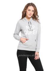 Grey Solid Hooded Fleece Sweatshirt