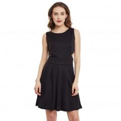 Black Single Jersey Polyster Blend Dress