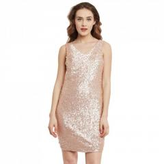 Pink Sequin,Poly Crepe Dress