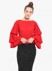 Red Crepe Top