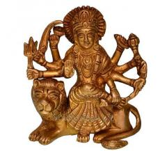 Hindu Religious Goddess Durga Ma Statue: Sculpted in Solid Brass Metal