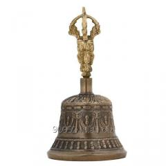 Spiritual Buddhist Tibetan Brass Bell with Dorje Handle