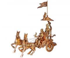 Mahabharat/Geeta Arjun Chariot (Rath) With Krishna & Hanuman: Sculpted In Solid Brass Metal