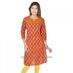 Orange Pure Cotton Printed Kurti