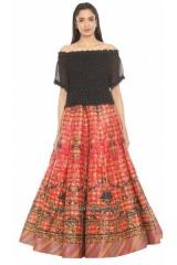 Multicolour And Black Lehenga Set