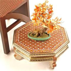 "Meenakari Wooden Bajot ""Royal"