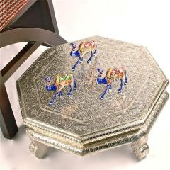 "Kandrai Work Wooden Low Table ""Silver"