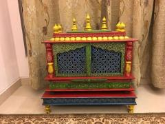 Painted Wooden Temple With Matching Chowki