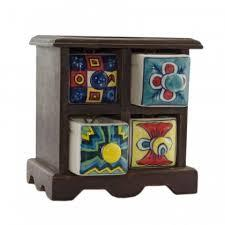 Colorful Ceramic Wooden Jewelery Vanity Drawers