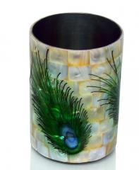 Peacock Design Premuium Mother of Pearl Toothbrush holder