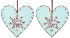 Wooden Christmas decoration, White, Set of 2, 4