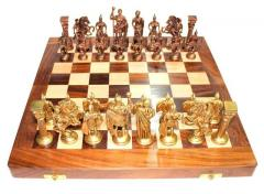 Chess Set with Brass Sculpted Pieces in Ancient Roman Style and Wooden Board