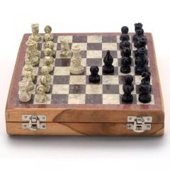 Chess Set with Stone Sculpted Pieces and Marble