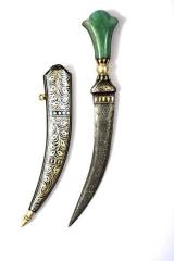 Koftgari decorative dagger with jade stone