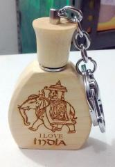 Wooden Key Chain With Perfume/Itar for On -The- Go