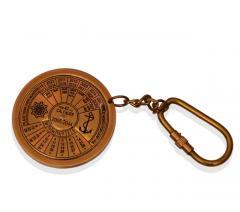 Brass Key Chain / Ring Shaped As Antique Calendar