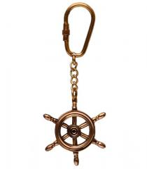 Brass Key Chain / Ring Shaped As Ship's Steering Wheel