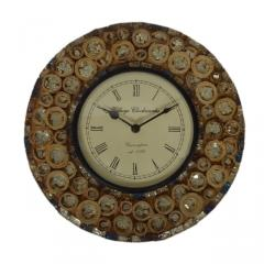 Wall Clock for home, glass mosaic with rugged wood pieces, 12x12 inch