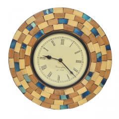 Mosaic Glass & Wood Designer Wall clock 12X12 inch