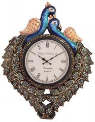 Amazing Wooden Hand Painted Peacock Shaped Designer Analog Wall Clock, 12X16 inch (10108)