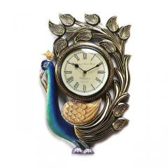 Amazing Wooden Hand Painted Peacock Shaped Designer Wall Clock (10107)