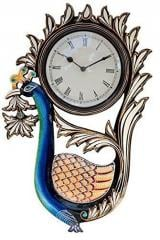 Traditional Rajasthani Peacock Shaped Wooden Designer Wall Clock 12x18 Inch (10106)