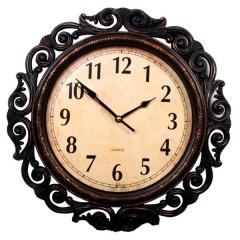Analog Wall clock with carved borders 15 inch (clock94a)