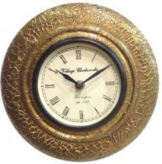 Wooden Analog Wall Clock with Brass covered clock65