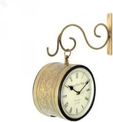 Double Sided Wall Mounted Analog Wall Clock (Brown,White)
