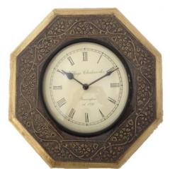 Wood & brass hexagonal clock