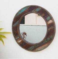 Stripped Round Mirror (Reclaimed Wood)