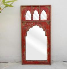 Red Distressed Mehrabi Mirror With Golden Details