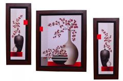 Flower Painting 'Vivacious Energy' From Fascinating Flora Collection: Set of 3 High Quality HD Print In Classy Textured Frames
