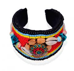 Bracelet With Funky Beadwork & Brass Gemstone Mosaic-work Jewel Adjustable Cotton Made Stylish College Wear For Girls