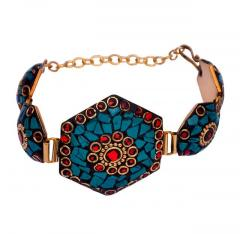 "Vintage Bracelet ""Truly Regal"": Adjustable Design With Artistic Mosaic Stonework Set In Brass"