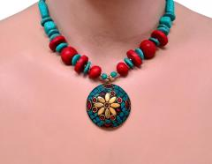 Necklace Chain With Glass Beads & Red Blue