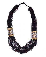 Multistrand Rani Haar Necklace With Black & Golden Beads For Women (30091)