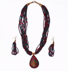 Beaded Necklace with Mosaic Work Brass pendant and