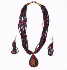 Beaded Necklace with Mosaic Work Brass pendant and beads earrings (30022)