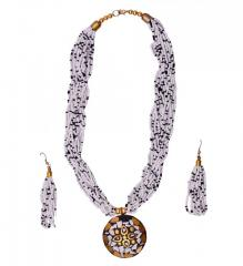 Beaded Necklace with Mosaic Work Brass pendant and beads earrings